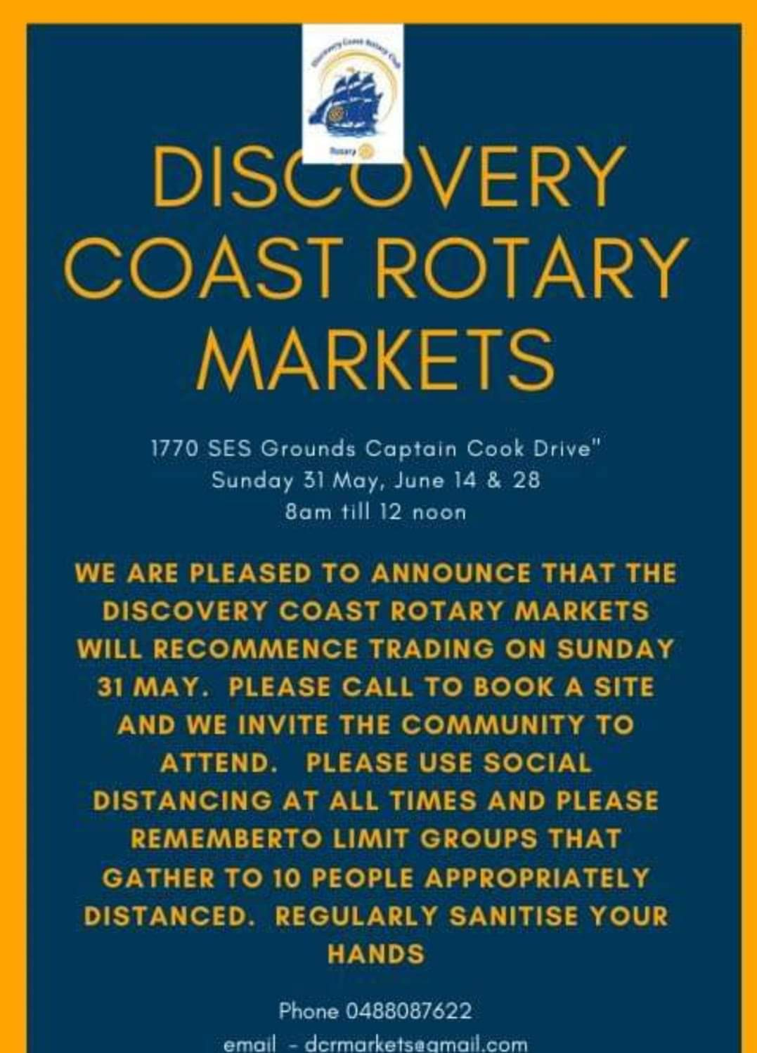 Discovery Coast Rotary markets are back