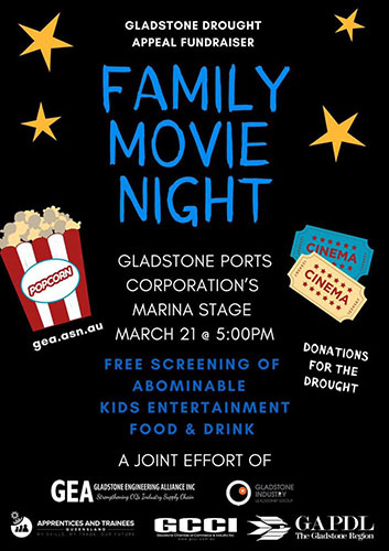 Gladstone drought appeal family movie night poster