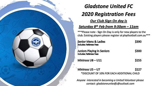 Gladstone united fc sign on day